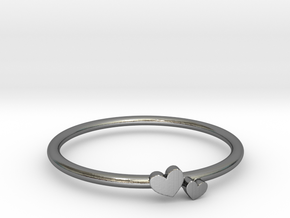 Twin Heart Ring (Multiple Sizes) in Polished Silver: 6 / 51.5