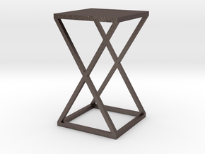 Xtra Side Table 1:12 scale in Polished Bronzed Silver Steel