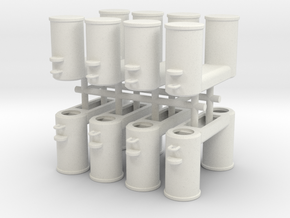 Double Bollards DIN 82607 - 1:50 - 8x in White Natural Versatile Plastic