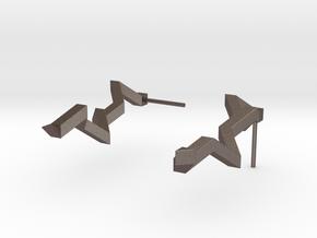 Thunderbolt Earrings in Polished Bronzed Silver Steel: Medium
