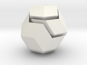 rhombic triacontrahedron, icosahedron, dodecahedro in White Natural Versatile Plastic
