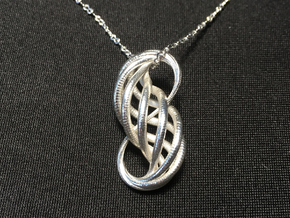 Shiny Gold or Silver Pendant: 'Entangled Forever' in Fine Detail Polished Silver