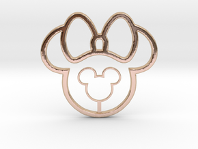 Mickey Head Lollypop Necklace in 14k Rose Gold Plated Brass