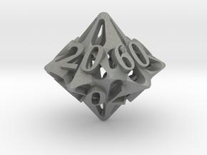 Pinwheel d10 Decader Ornament in Gray PA12