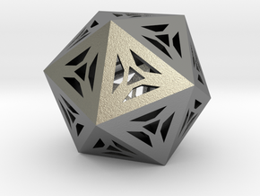 Decorative Icosahedron in Natural Silver