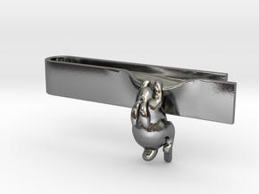 Falling Rabbit Tie Bar in Polished Silver: Medium
