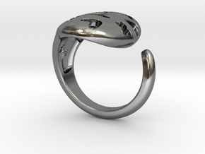 Solid Heart and X Ring. in Polished Silver