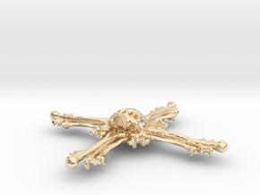 Cross Bone Pendant in 14k Gold Plated Brass
