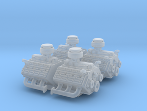 Set of 4 - Flathead V8 Stock Engine  in Smooth Fine Detail Plastic