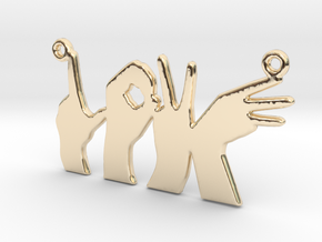 Love Hands pendant in 14k Gold Plated Brass