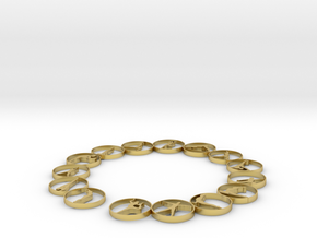 Bangle with 15 yoga poses 70 mmm (1) in Polished Brass