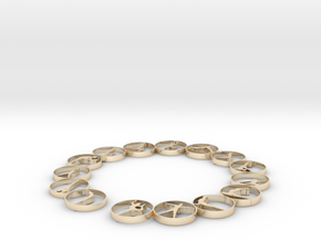 Bangle with 15 yoga poses 60.3 mmm in 14K Yellow Gold