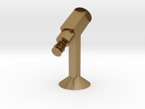 Rocket w/ Flame in Polished Gold Steel