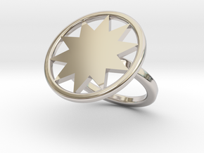 P O W E R  Wheel Ring in Rhodium Plated Brass: 5 / 49