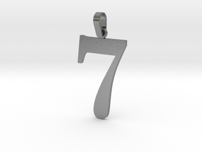 7 Number Pendant in Natural Silver (Interlocking Parts)