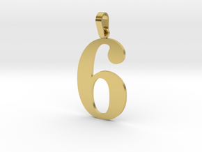 6 Number Pendant in Polished Brass (Interlocking Parts)