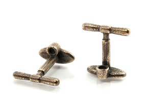 Bicycle Track Pump Cufflink in Polished Bronze Steel