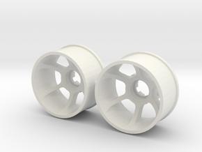 """2WD - Jantes arrière - """"Le Mans edition"""" - Ø20,5mm in White Natural Versatile Plastic"""