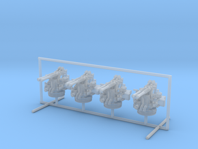 1/240 USN 40mm Bofors Twin Mount Set x4 in Smooth Fine Detail Plastic