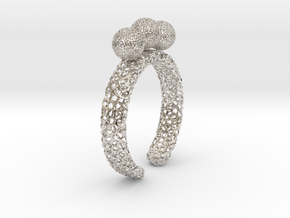 voronoi fidget ring. Size 7 18.92 mm with three sp in Rhodium Plated Brass