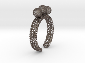 Voronoi fidget ring. Size 5 17.58 mm with three sp in Polished Bronzed-Silver Steel