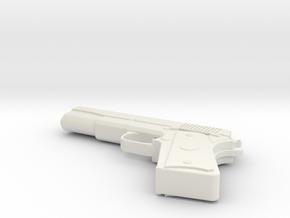 Miniature Colt M1911 Gun (Colt Government) in White Natural Versatile Plastic