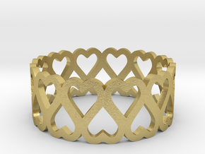 heart symmetric ring size 6.5 in Natural Brass