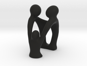 Family of Three, Sculpture in Black Natural Versatile Plastic