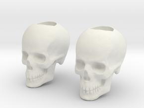 Skull Bead - Doubled in White Natural Versatile Plastic