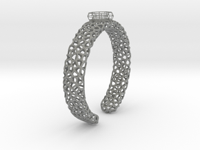Size 6 voronoi cage ring with spinning voronoi bal in Gray PA12