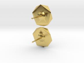 Post Earrings in Polished Brass