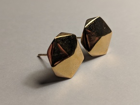 Post Earrings in Polished Bronze