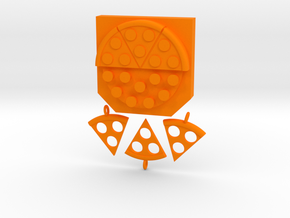 "Key hanger ""pizza"" in Orange Processed Versatile Plastic"