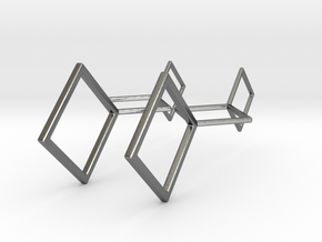 Square Earrings in Polished Silver