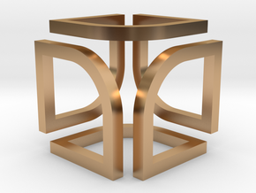 Cube Pendant Type B in Polished Bronze: Small