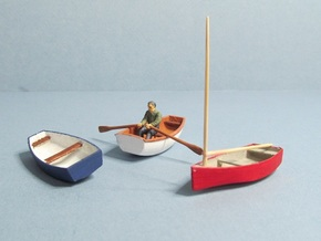 4 mm Scale Skif Rowing & Sailing Boats x3 in White Natural Versatile Plastic
