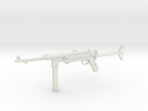 1:6 Miniature MP40 in White Natural Versatile Plastic