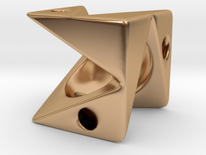 Cube Pendant Type A in Polished Bronze: Small