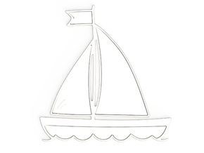 Boat Pendant in Polished Silver