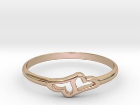 Merging Hearts in 14k Rose Gold Plated Brass: 6 / 51.5