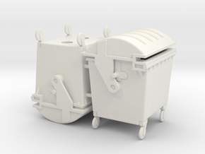 Waste container 4 wheels 1100 ltr. - 1:50 - 2X in White Natural Versatile Plastic