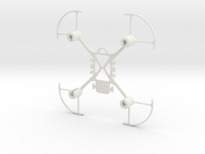 Mini FPV quadcopter frame with props guards in White Natural Versatile Plastic