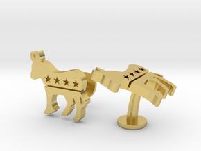 Democrat Cufflinks in Polished Brass