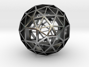 13mm f134 skeletal polyhedron lawal solids gmtrx  in Polished Silver