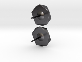 Post Earrings in Polished and Bronzed Black Steel