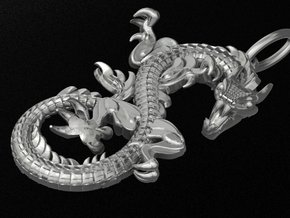 Dragon pendant # 2 in Fine Detail Polished Silver