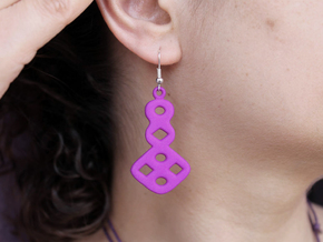 Circles & Squares Earrings in Purple Processed Versatile Plastic