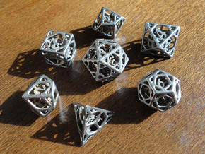 Cage Dice Set with Decader in Polished Bronzed Silver Steel