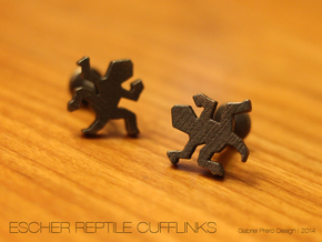 Escher Reptile Cufflinks in Polished and Bronzed Black Steel
