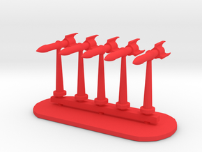 Rockets Sprue - Variant 2 in Red Processed Versatile Plastic